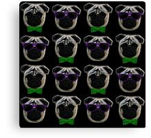 """Cool Pugs"" green/purple Canvas Print"