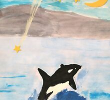 Mixed Media Whale Under A Night Sky by Express Yourself Artshop