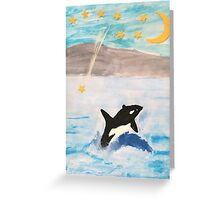 Mixed Media Whale Under A Night Sky Greeting Card