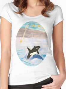 Mixed Media Whale Under A Night Sky Women's Fitted Scoop T-Shirt