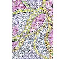 Zentangle Inspired art (ZIA) roses, and swirls Photographic Print