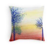 Sunset with Blue Trees Throw Pillow