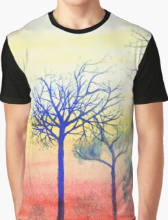 Sunset with Blue Trees Graphic T-Shirt