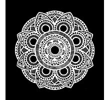 Hand-Drawn Floral Mandala - White Photographic Print