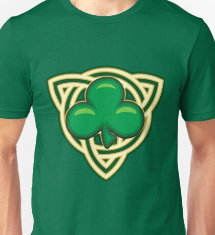 Saint Patricks Day Shamrock Emblem  Unisex T-Shirt