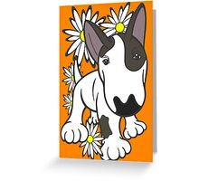 English Bull Terrier Pup Daisies  Greeting Card
