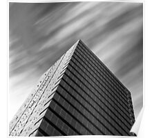 Modern architecture and windswept clouds Poster