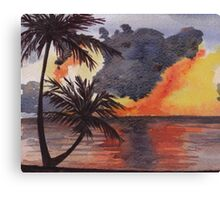 Tropical Sunset, Tranquil Beach Canvas Print