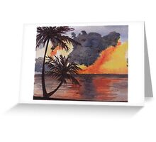 Tropical Sunset, Tranquil Beach Greeting Card