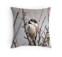 Chickadee chooses a berry Throw Pillow