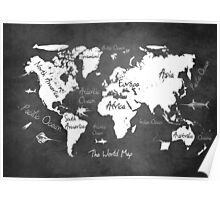 World map black Poster