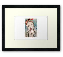 Girl Woman Sketch Vintage Framed Print