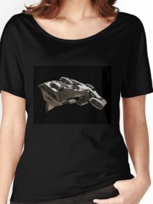 Spaceship on black - front side view Women's Relaxed Fit T-Shirt