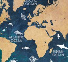 Oceans Life World Map blue Sticker