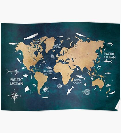 Oceans Life World Map blue Poster