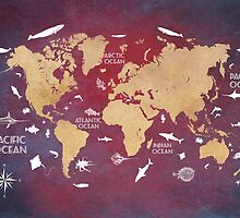 Oceans Life World Map red by JBJart
