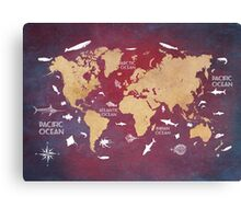 Oceans Life World Map red Canvas Print