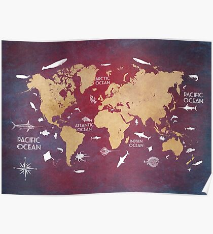 Oceans Life World Map red Poster
