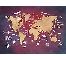 Oceans Life World Map red Photographic Print