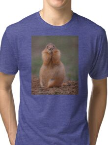 Prairie Dog with Funny Expression Tri-blend T-Shirt