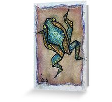 Aceo blue frog Greeting Card