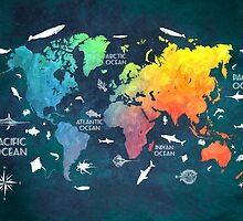 Oceans Life World Map colored by JBJart