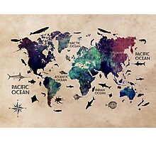 World Map Oceans Photographic Print
