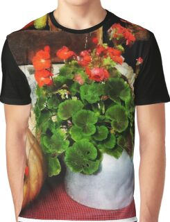 Teapot Filled With Geraniums Graphic T-Shirt