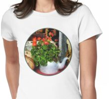 Teapot Filled With Geraniums Womens Fitted T-Shirt