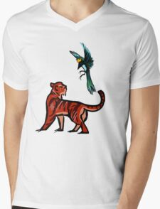 Tiger and Magpie Mens V-Neck T-Shirt