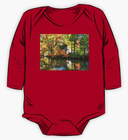 White House by Lake in Autumn One Piece - Long Sleeve