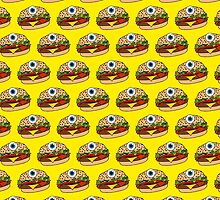 Cyclops Burger Pattern Yellow by Lucy Lier