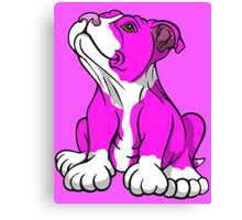 American Bull Terrier Puppy Pink  Canvas Print
