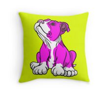 American Bull Terrier Puppy Pink  Throw Pillow