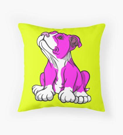 American Bull Terrier Puppy Pink  Throw Pillow
