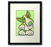 Pondering EBT Cartoon Green Framed Print