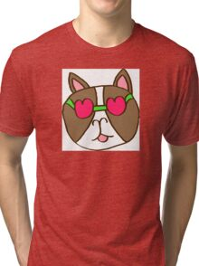 Heart sun glasses Frenchie Tri-blend T-Shirt