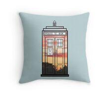 Sunset TARDIS Throw Pillow