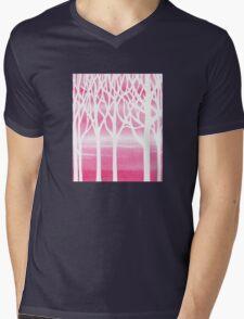 Baby Pink Forest Mens V-Neck T-Shirt