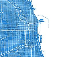 Chicago Map - Light Blue by CartoCreative