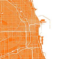 Chicago Map - Orange by CartoCreative