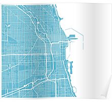 Chicago Map - Baby Blue Poster