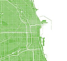 Chicago Map - Light Green by CartoCreative