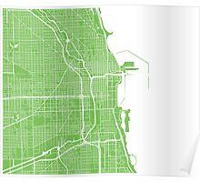 Chicago Map - Light Green Poster