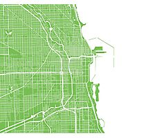 Chicago Map - Light Green Photographic Print
