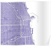 Chicago Map - Light Purple Poster