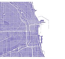 Chicago Map - Light Purple Photographic Print