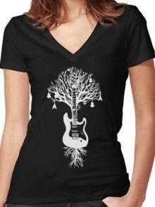 Nature Guitar White Tree Music Banksy Art Women's Fitted V-Neck T-Shirt