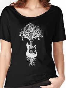 Nature Guitar White Tree Music Banksy Art Women's Relaxed Fit T-Shirt