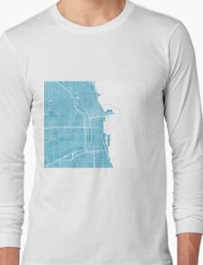 Chicago Map - Baby Blue Long Sleeve T-Shirt